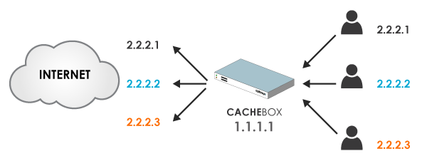 Source IP Address Spoofing Diagram - CACHEBOX