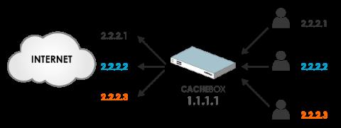 Source IP Address Spoofing Diagram - CACHEBOX